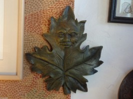 Brown  wall plaque plaster leaf with face image 5