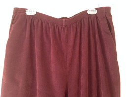Burgundy Elastic Waist Alfred Dunner Pants Two Pockets Size 22W image 2
