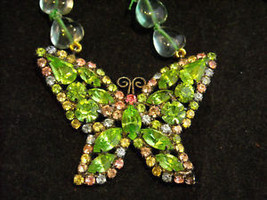 Butterfly Rhinestone Necklace Green and Pink image 2