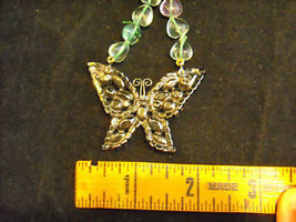 Butterfly Rhinestone Necklace Green and Pink image 3
