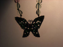 Butterfly Rhinestone Necklace Green and Pink image 6