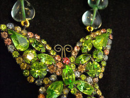 Butterfly Rhinestone Necklace Green and Pink image 7