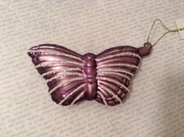 Butterfly Christmas holiday Glass Ornament dark purple lavender 4 Inch High image 2
