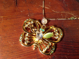 Butterfly Gold Tone Pendant Silver Tone Drain Crystals Adjustable Lobster Clasp image 2