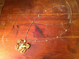 Butterfly Gold Tone Pendant Silver Tone Drain Crystals Adjustable Lobster Clasp image 3