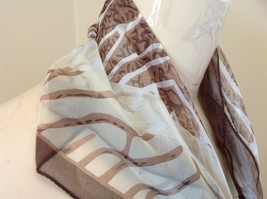 Brown Tan White Wavy Strip Square Scarf Light Weight Material Hanfei image 4