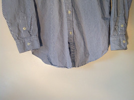 Button Down Long Sleeve Shirt with Collar Striped White and Gray Chaps Size XL image 6