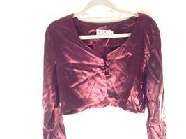 CDC Petites Burgundy Short Shiny Long Sleeve Blouse Size 8 Made in USA image 2
