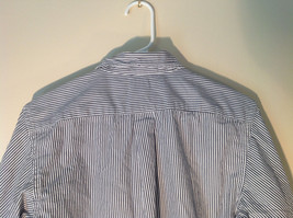 Button Down Long Sleeve Shirt with Collar Striped White and Gray Chaps Size XL image 7