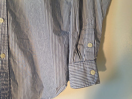 Button Down Long Sleeve Shirt with Collar Striped White and Gray Chaps Size XL image 5