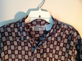 Button Up Black and White Checkers Silk Shirt by Addiction Size Medium 1 Pocket image 3
