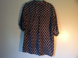 Button Up Black and White Checkers Silk Shirt by Addiction Size Medium 1 Pocket image 5