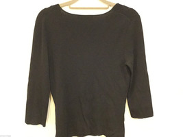 Cable & Gauge 3/4 sleeve Simple and Elegant Black Stretchy Blouse, Size S image 4