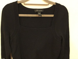 Cable & Gauge 3/4 sleeve Simple and Elegant Black Stretchy Blouse, Size S image 2
