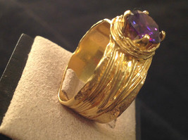 CZ amethyst 14K Gold Plated Sterling Silver Textured Band Size Choice 7 or 8 image 2