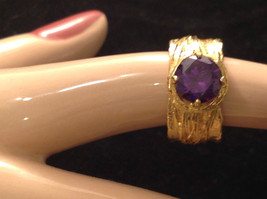 CZ amethyst 14K Gold Plated Sterling Silver Textured Band Size Choice 7 or 8 image 3