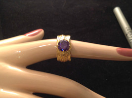 CZ amethyst 14K Gold Plated Sterling Silver Textured Band Size Choice 7 or 8 image 4