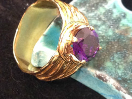 CZ amethyst 14K Gold Plated Sterling Silver Textured Band Size Choice 7 or 8 image 7