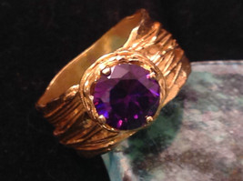 CZ amethyst 14K Gold Plated Sterling Silver Textured Band Size Choice 7 or 8 image 5