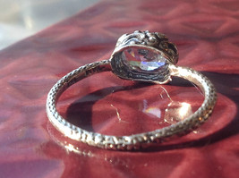 CZ Cubic Zirconia Glittering Sterling Silver Faceted Ring Size 8 image 3