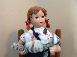 Can I Keep Her? Doll by Donna RuBert Porcelain 16 Inches Tall on Stand w cat image 2