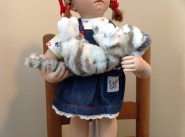 Can I Keep Her? Doll by Donna RuBert Porcelain 16 Inches Tall on Stand w cat image 5