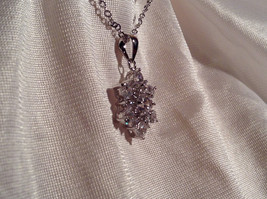 CZ Stone Snowflake Pendant Silver Necklace Lobster Clasp Closure image 5
