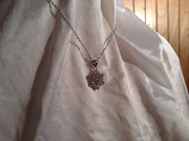 CZ Stone Snowflake Pendant Silver Necklace Lobster Clasp Closure image 4