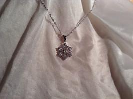 CZ Stone Snowflake Pendant Silver Necklace Lobster Clasp Closure image 2