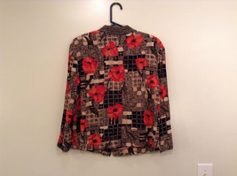 Carole Little Petites Blouse and Pant Set Abstract Print with Brown Red Flowers image 4