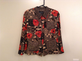 Carole Little Petites Blouse and Pant Set Abstract Print with Brown Red Flowers image 3