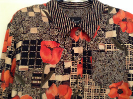 Carole Little Petites Blouse and Pant Set Abstract Print with Brown Red Flowers image 8
