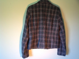 Calvin Klein Gray White and Purple Plaid Blazer 3 Front Pockets Size Large image 5