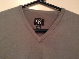 Calvin Klein V Neck Gray Long Sleeve 100 Percent Cotton Sweater Size Large image 2