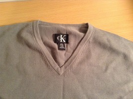 Calvin Klein V Neck Gray Long Sleeve 100 Percent Cotton Sweater Size Large image 5