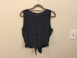 Calvin Klein Sport Navy Blue Tan pattern Crew Neck Sleeveless Blouse, Size L image 4