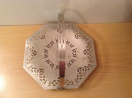 Candy cookie snack tray Metal Holder w Handle Universal White w filigree vintage image 3