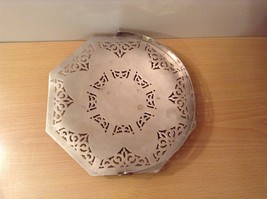 Candy cookie snack tray Metal Holder w Handle Universal White w filigree vintage image 4