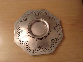 Candy cookie snack tray Metal Holder w Handle Universal White w filigree vintage image 7