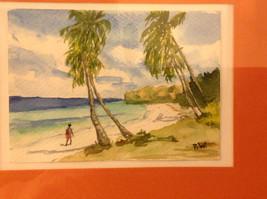 Caribbean water color framed Pamela Wright beach image 3