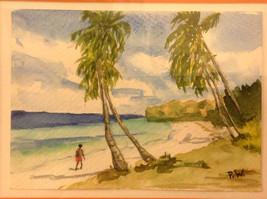 Caribbean water color framed Pamela Wright beach image 7