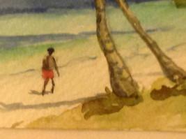Caribbean water color framed Pamela Wright beach image 5