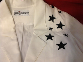 Caron Components Brand Womens White blazer blouse with Black Stars image 2