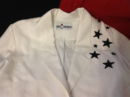 Caron Components Brand Womens White blazer blouse with Black Stars image 7