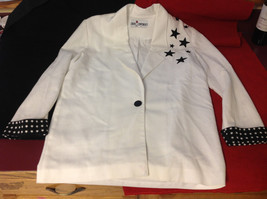 Caron Components Brand Womens White blazer blouse with Black Stars image 4