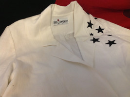 Caron Components Brand Womens White blazer blouse with Black Stars image 9