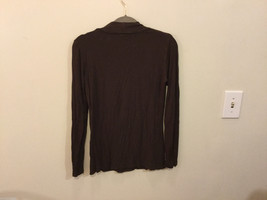 Carole Little Brown Mock with Knot Neck Stretchable Rayon Blouse Top, Size S image 3