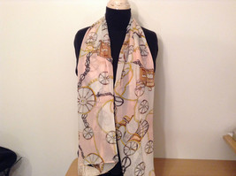 Carriages Pattern Light Pink Brown Tan Scarf 100 Percent Polyester NEW image 2