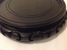 Carved Wood Asian Style Low Round Indoor Black Stand Great For Displaying image 7