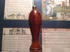 Carved Wooden Handle Brass Hand Bell Mid Tone image 3